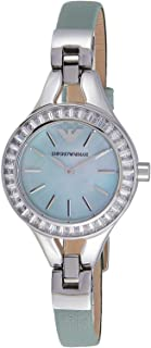 Emporio Armani Women's Sea Blue Dial Leather Band Watch - AR7414