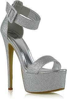 ESSEX GLAM Womens Ankle Strap Stiletto High Heel Sandals Ladies Platform Peeptoe Party Shoes