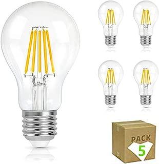 Bombilla LED Vintage Filamento 6W E27 A60 GNETIC GLASS 550LM 2700K Luz Blanca Cálida 105X60 mm 30000h 340° Equivalente a 50W en incandescencia Cristal Edison [Eficiencia energética A++] Pack x5