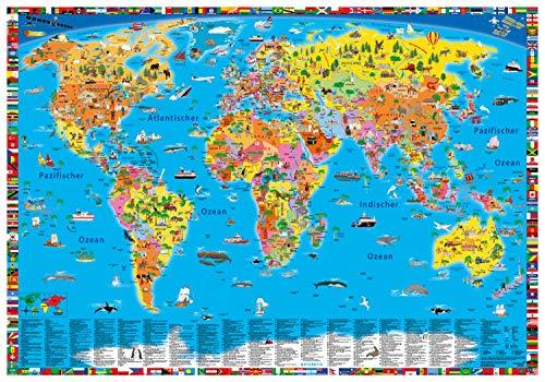 """Erlebniskarte """"Illustrierte politische Weltkarte"""
