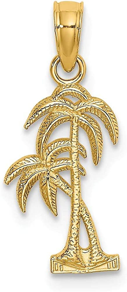 Solid 14k Max 90% OFF Yellow Gold Textured Double Popular product Tree Palm - Charm Pendant