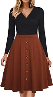 Women's Long Sleeve Wrap V Neck Ruched Button Down Pocket Business Party Casual Swing Aline Dress