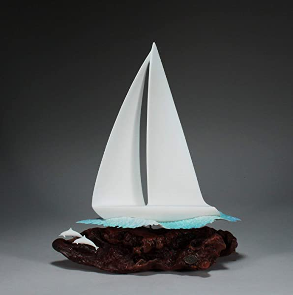 Sail Boat Yacht Sculpture With Dolphins From John Perry 16 Inches Tall Pellucida