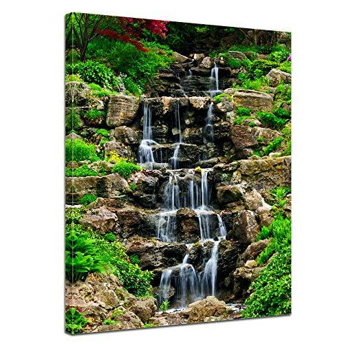 Bilderdepot24 Bild auf Leinwand   Wasserfall II in 90x120 cm als Wandbild XXL   Wand-deko Dekoration Wohnung modern Bilder   201719