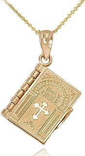 """Buhui - Collana con ciondolo a forma di bibbia in miniatura, con scritta in lingua inglese """"Preghiera staccabile"""", regalo ..."""