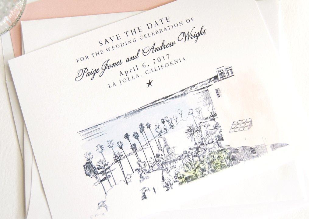 La Jolla Skyline Destination famous Wedding Daily bargain sale Save Dates of Set 25 the