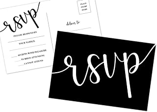 50 RSVP Cards, No Envelopes Required, Black and White Printing, Wedding, Rehearsal, Birthdays, Baby, Bridal Shower Invitation