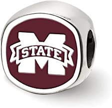 Solid 925 Sterling Silver Mississippi State U Cushion Shaped Double Logo Bead Charm Very Small Pendant (11mm x 11mm)