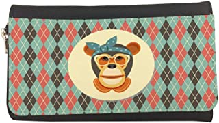 Cartoon Drawings - Monkey Printed Leather Case Wallet