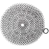 BasicForm 8 x 8 Inch Cast Iron Cleaner – Stainless Steel Chainmail Scrubber with Hanging Ring