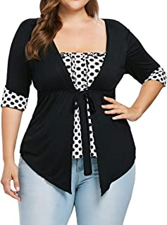 Fashion Women Shirt Plus Size Square Neck Polka Dot Ribbons Empire Waist T-Shirt Tee