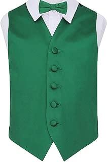 DQT Plain Satin Boys Formal Casual Wedding Tuxedo Waistcoat Vest Emerald Green 26