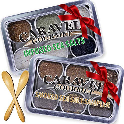 Sea Salt Gift Set - Infused & Smoked Salt Sampler Collections - 12 Flavors with Bamboo Spoons - Great Gifts for Everyone - by Caravel Gourmet