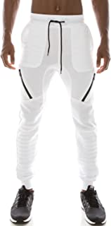 JC DISTRO Mens Hipster Hip Hop Fleece Jogger Pants W/Zipper Accent Details