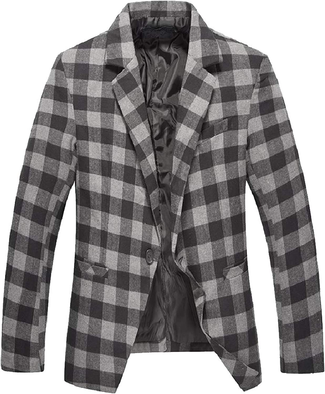 Coolhere Men Business Plaid Notched Collar Single Button Blazer Jacket Coat