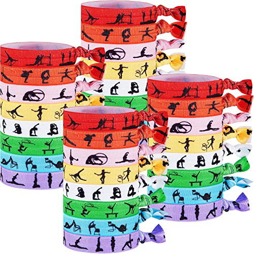 32 Pieces Gymnastics Hair Ties Accessories Gymnastics Silhouettes Elastics Hair Ribbon Ties Sports No Crease Hair Bands Ponytail Holders Gifts for Girls Women Gymnastics Teachers and Coaches