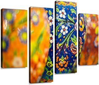 Traditional Turkish Ceramic Decoration on The Plane Canvas Wall Art Hanging Paintings Modern Artwork Abstract Picture Prints Home Decoration Gift Unique Designed Framed 4 Panel