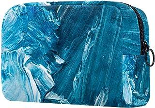Makeup Bag Toiletry Bag for Women Blue White Paiting Skincare Cosmetic Handy Pouch Zipper Handbag