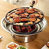 Charcoal Grill Korean Barbecue Grill Portable Stainless Steel Non-stick Charcoal Stove for Outdoor Camping BBQ Grill 13.7 inches Small Grill Outdoor Cooking