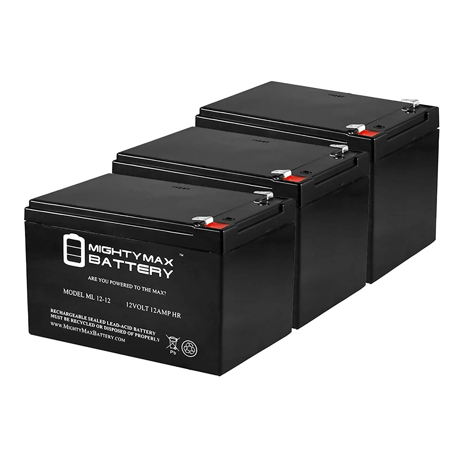 Mighty Max Battery 12V12AH F2 Battery for Razor Dirt Rocket SX500-15128101 - 3 Pack Brand Product