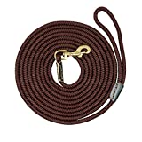 PET ARTIST Braided Nylon Rope 10ft-66ft Tracking/Training Long Dog Leash, Dark Brown Rope with Anti-Rust Heavy Duty Copper Clasp/Hook - Long Lead with Comfortable Touching(16ft)