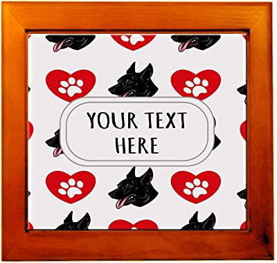 0f51a31a9 Ceramic Tile in Wood Frame Custom Cierny Sery Dog Heart Paws Pattern Adults