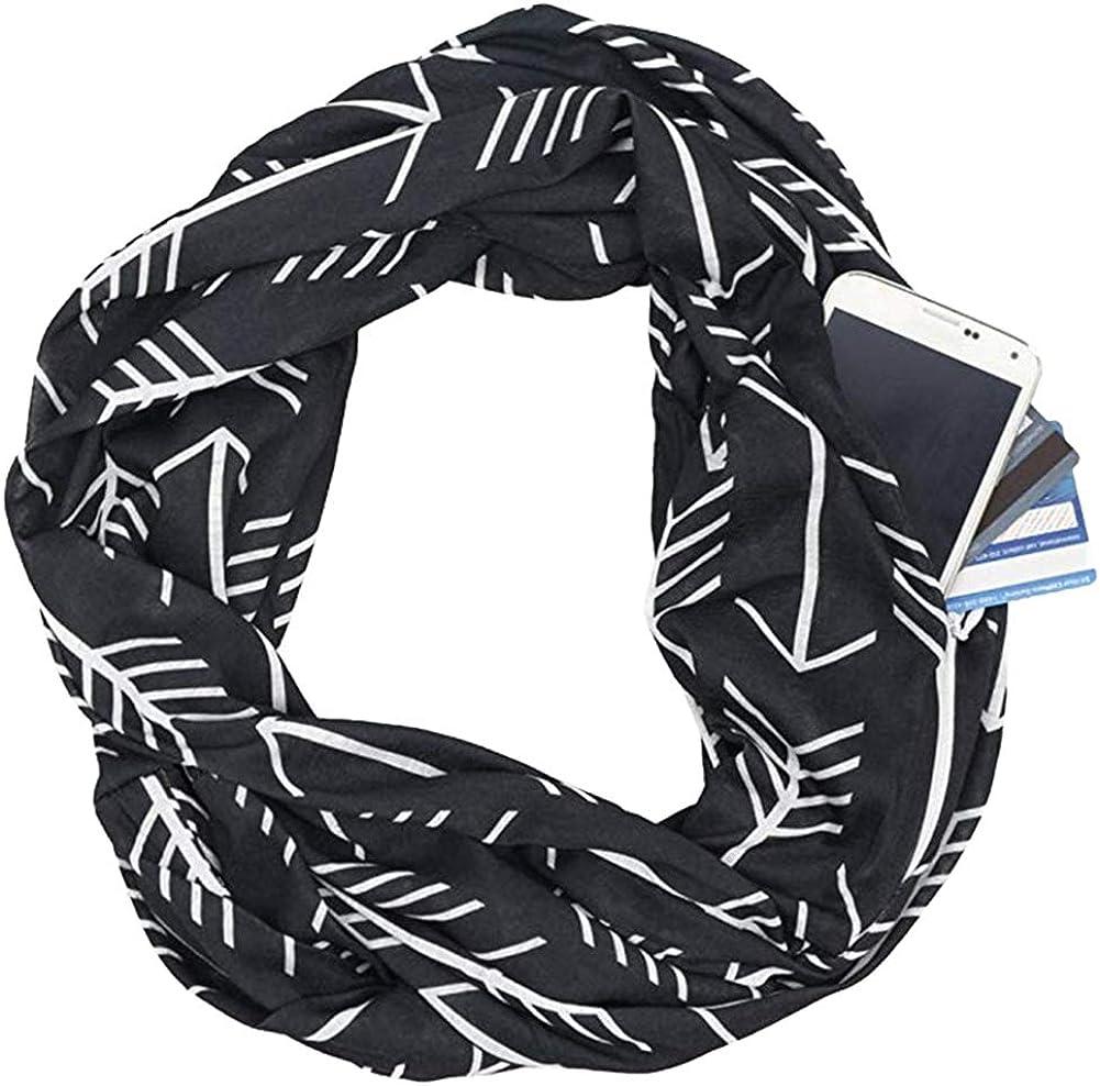 Women Fashion Infinity Scarf Wrap with Zipper Pocket Soft Plaid Blanket Shawl