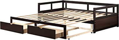 Twin to King Wooden Daybed Extendable Bed with Trundle Bed and Two Storage Drawers (Espresso)