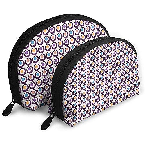 Mutige Kreise mit bunten Tupfen Tragbare Taschen Kosmetiktasche Kulturbeutel Tragbare Multifunktionsreisetaschen Kleine Kosmetiktasche