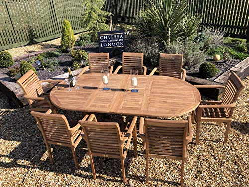 chelsea home and leisure ltd TEAK GARDEN FURNITURE Extending table with 8 stacking chairs