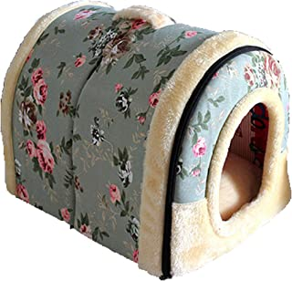 Sponsored Ad - Obundi Winter 2-in-1 Covered Cat Bed Portable Indoor Pet House Unique Cozy Plush Foldable Small Dog House 7...