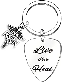 Nurse Gift Live Love Heal Guitar Pick keychain RN Jewelry For Nursing Student