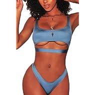 FAFOFA Womens Sexy Scoop Neck Straps Cutout High Cut Thong 2PCS Bikini Sets Swimsuit
