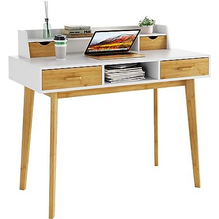HOMECHO Bureau d'Ordinateur avec Rangement en Bois,Table Informatique avec étagères de Bureau, avec 4 Tiroirs PC Table en Bambou, pour Travailler ou Étudier, 108 x 52 x 91 cm