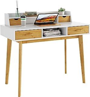 HOMECHO Bureau d'Ordinateur avec Rangement en Bois,Table Informatique avec étagères de Bureau, avec 4 Tiroirs PC Table en ...