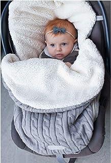 Mengqiy Neugeborenes Baby Wickeldecke, Dickes Baby Kinder Kleinkind Stricken Weiche Warme Fleece Decke Wickelschlafsack Schlafsack Kinderwagen Unisex Wrap für 0-12 Monate Baby Jungen Mädchen - Grau