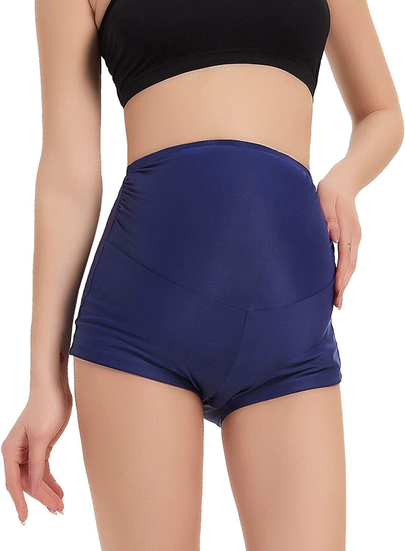 GINKANA Maternity Swimsuit Bottom Elastic Waist Boy Shorts Swimming Panty High Stretchy Swimming Shorts Summer Shorts