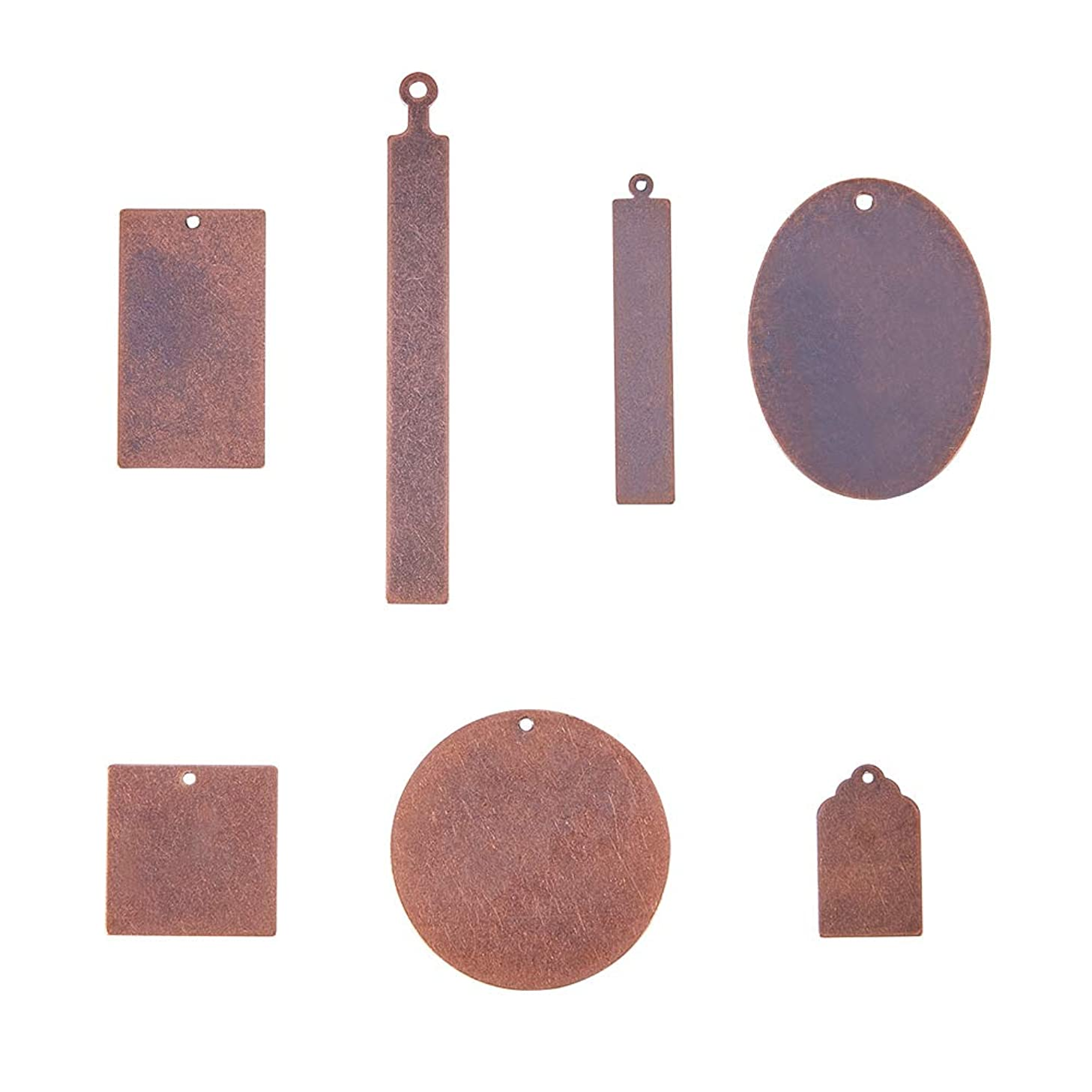PandaHall Elite 42 Pcs Brass Flat Blank Stamping Tag Pendants Charms 7 Styles for Jewelry Making Red Copper