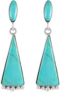Turquoise Earrings in 925 Sterling Silver & Genuine Turquoise by Turquoise Network