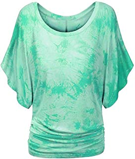 Allywit Plus Size Women's Ruffle Sleeve Tie-dye Round Neck Casual Loose Fit Tunic Tops T-Shirt