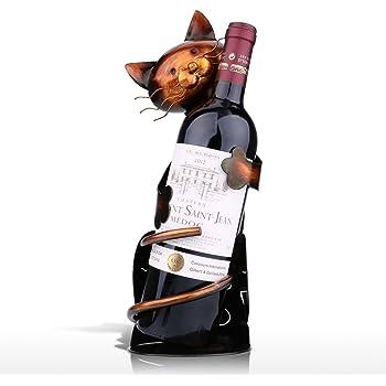 Tooarts Cat Shaped Wine Holder Wine Rack shelf Metal Sculpture Practical Home decoration Crafts