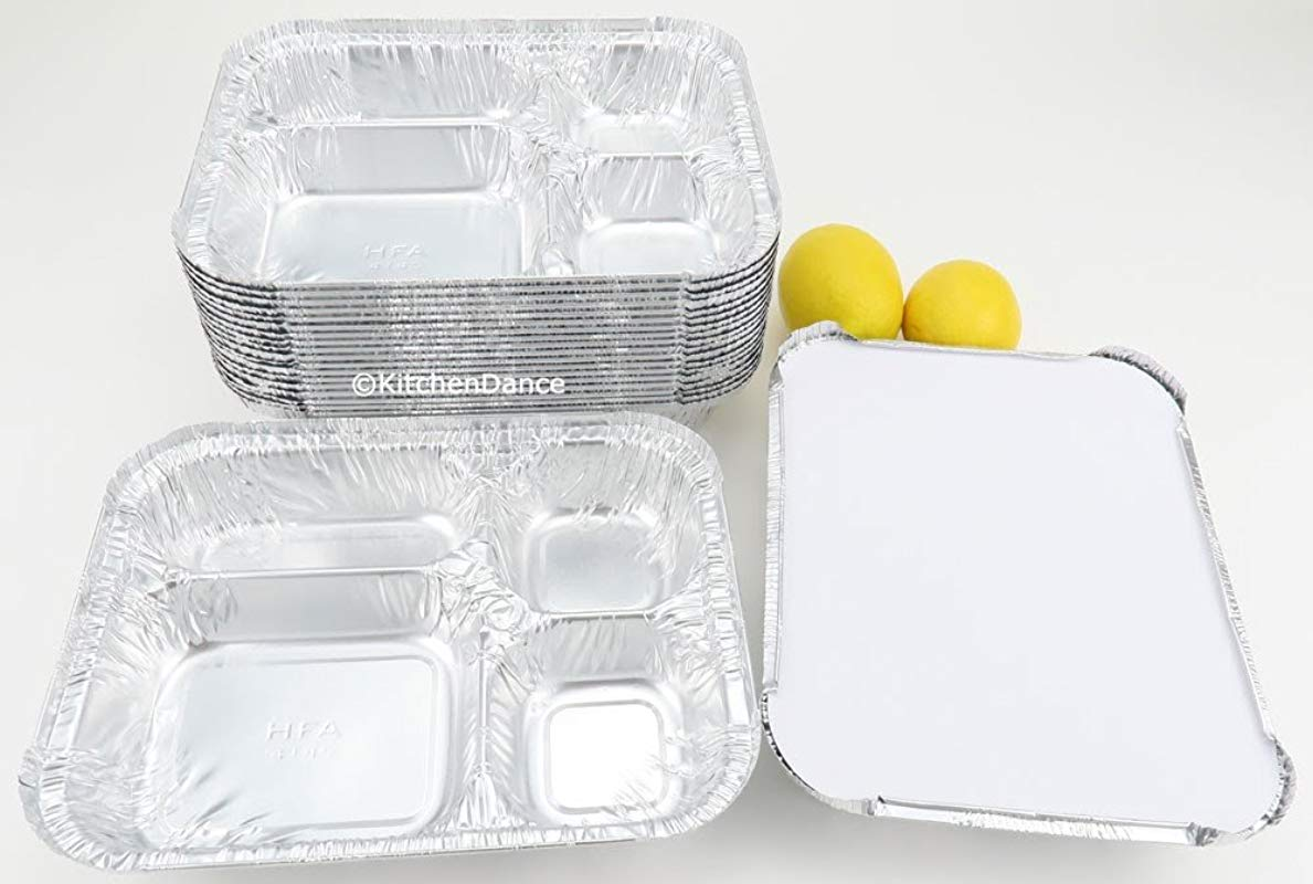 Disposable Aluminum 4 Compartment T V Dinner Trays With Board Lid By Handi Foil 4145L 10