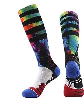 Basketball Socks, J'colour Unisex Cushioned Digital Print Knee High Team Sports Football Socks 1,2,3,6 Pairs