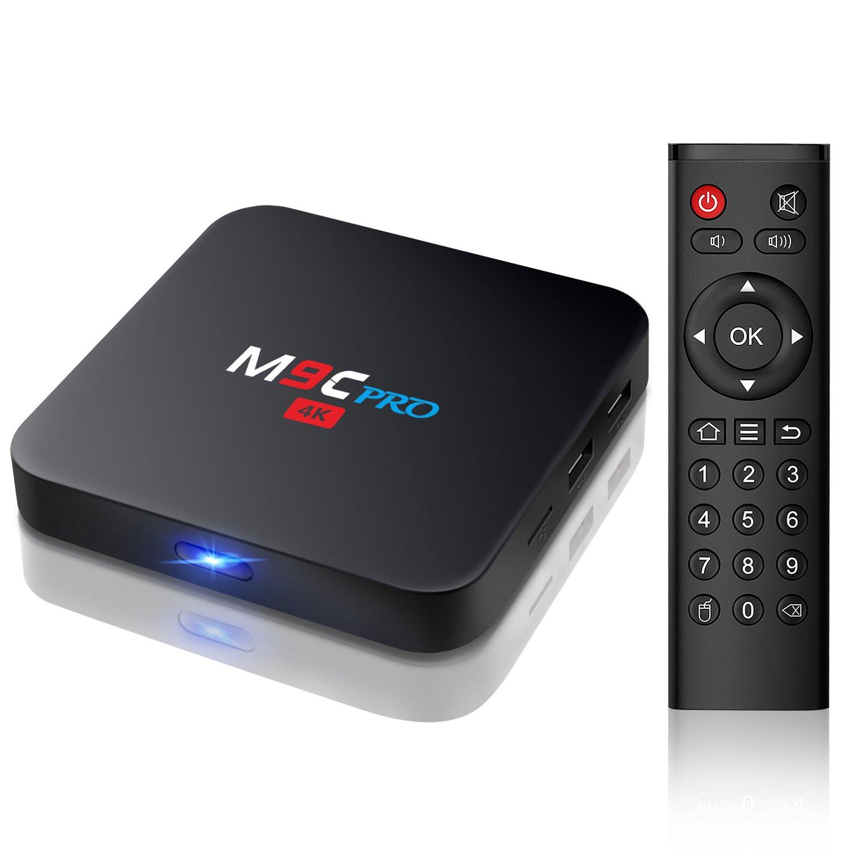 Bqeel - TV Box con reproductor HD, Android 6.0, M9C Pro Amlogic S905X, Quad Core, KODI 16.1, 1 G / 8G, 4K, wifi, H.265 DLNA, Miracast: Amazon.es: Electrónica