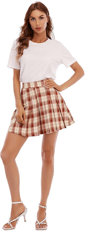 Women's Casual High Waist Plaid A-line Pleated Mini Skirt