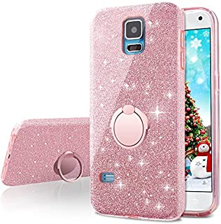 Galaxy S5 Case,Silverback Girls Bling Glitter Sparkle Cute Phone Case with 360 Rotating Ring Stand, Soft TPU Outer Cover + Hard PC Inner Shell Skin for Samsung Galaxy S5 -Rose Gold