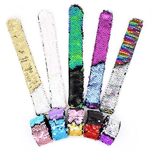 SWNKDG 10 Stück Meerjungfrau Armbänder, 2-farbig Reversible Charme Pailletten Slap Spielzeug Armband für Party, Dekor, Kinder mit Super-Soft Velvet
