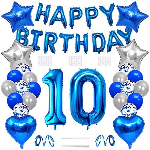 Xihuimay Globos de helio para decoración de cumpleaños 10 años de edad, globos de helio número 10, globo de látex con forma de corazón, color plateado y azul