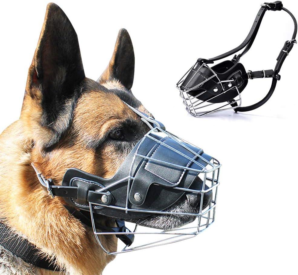 Supet - Bozal de Metal para Perros, antimasticable, antimordedura, Transpirable, máscara de Seguridad para Perros pequeños, medianos y Grandes, ...