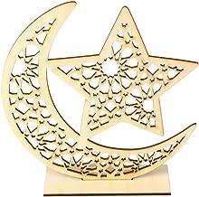 cici store Eid Mubarak Ornamento de lua de madeira, muçulmano islâmico, Ramadã, decoração de artesanato